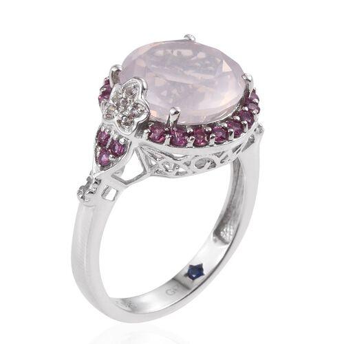GP Rose Quartz (Rnd 6.25 Ct), Kanchanaburi Blue Sapphire, Rhodolite Garnet and White Topaz Ring in Platinum Overlay Sterling Silver 7.000 Ct.