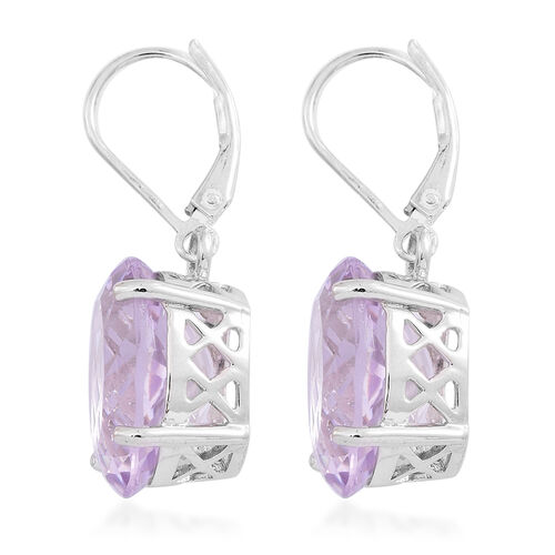 Rare Size AAA Rose De France Amethyst (Ovl) Lever Back Earrings in Rhodium Plated Sterling Silver 17.000 Ct.