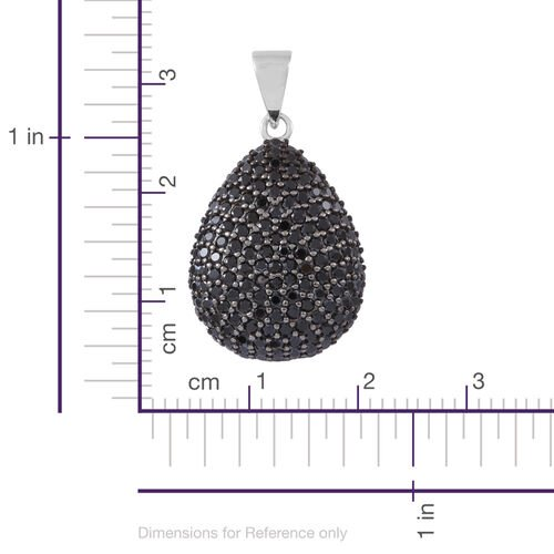 Red Carpet Collection-Boi Ploi Black Spinel (Rnd) Teardrop Pendant in Rhodium Plated Sterling Silver 3.600 Ct.