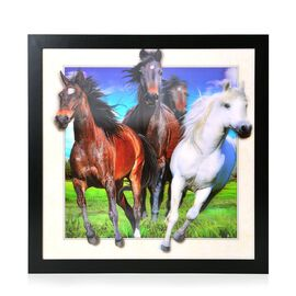 Wall Decor - Horses Framed 3D Wall Painting (Size 42x42x1 Cm)
