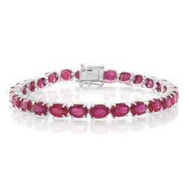 AAA African Ruby (Ovl) Tennis Bracelet (Size 7.5) in Rhodium Plated Sterling Silver 28.000 Ct.