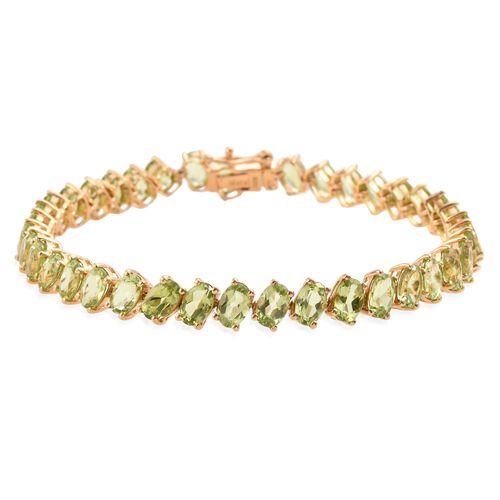 AA Hebei Peridot (Ovl) Bracelet (Size 7.5) in 14K Gold Overlay Sterling Silver 16.000 Ct.