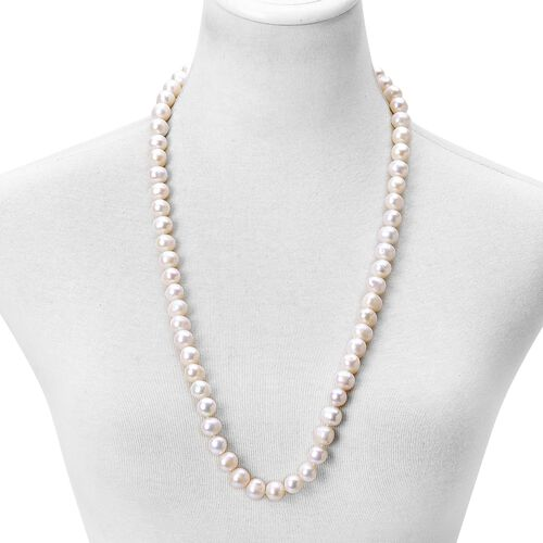 Hand Knotted Fresh Water High Lustre White Pearl (Rnd 11-12 mm) Bead Necklace (Size 30 Inch)