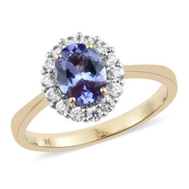 9K Yellow Gold AAA Tanzanite (Ovl 1.55 Ct), Natural Cambodian Zircon Ring 2.250 Ct.