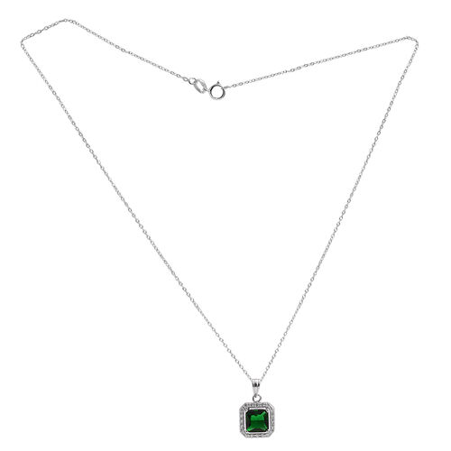 ELANZA AAA Simulated Emerald (Sqr), Simulated White Diamond Pendant With Chain (Size 18) in Rhodium Plated Sterling Silver