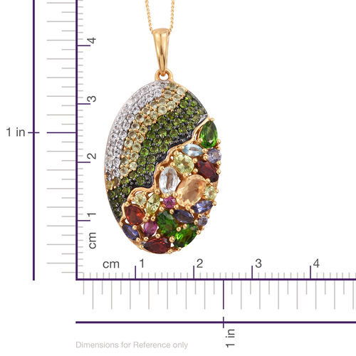 GP Iolite,Citrine, Mozambique Garnet, Russian Diopside, Sky Blue Topaz Pendant with Chain in 14K Gold Overlay Sterling Silver 5.500 Ct.