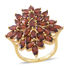 Mozambique Garnet (Mrq) Cluster Ring in 14K Gold Overlay Sterling Silver 10.000 Ct. Silver wt. 6.50 Gms.