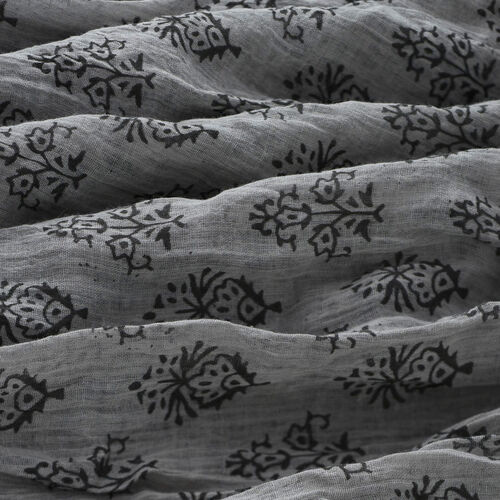 100% Cotton Black Colour Flowers Printed Grey Colour Scarf (Size 180x100 Cm)