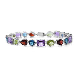 Rose De France Amethyst (Bgt), Hebei Peridot, Mozambique Garnet and London Blue Topaz Bracelet (Size 7.5) in Rhodium Plated Sterling Silver 25.000 Ct. Silver wt 10.00 Gms.