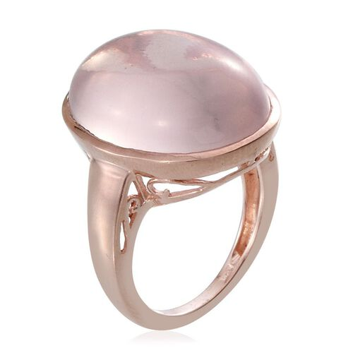 Rose Quartz (Ovl) Ring in Rose Gold Overlay Sterling Silver 18.000 Ct.