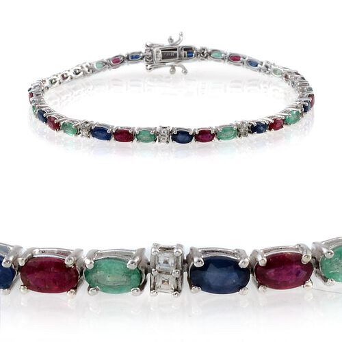 Kanchanaburi Blue Sapphire (Ovl), African Ruby, Kagem Zambian Emerald and White Topaz Bracelet in Platinum Overlay Sterling Silver (Size 8) 8.000 Ct.