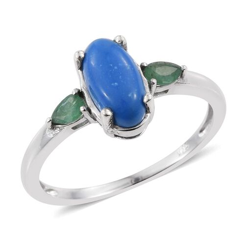 Ceruleite (Ovl 0.75 Ct), Kagem Zambian Emerald Ring in Platinum Overlay Sterling Silver 1.000 Ct.