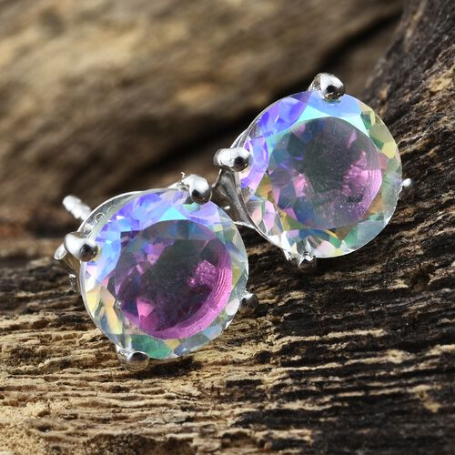 Mercury Mystic Topaz (Rnd) Stud Earrings (with Push Back) in Platinum Overlay Sterling Silver 4.500 Ct.
