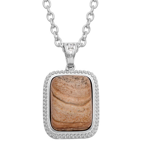Picture Jasper (Cush 18.25 Ct), Simulated White Diamond Pendant in Silver Bond with Stainless Steel Chain 18.750 Ct.