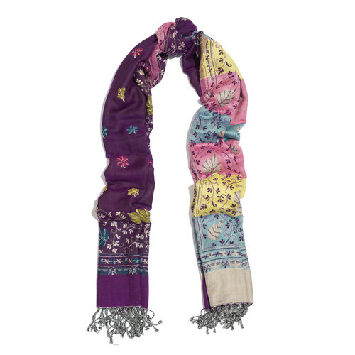 Pink, Yellow, Green and Multi Colour Floral and Leaves Pattern Scarf (Size 200x70 Cm)