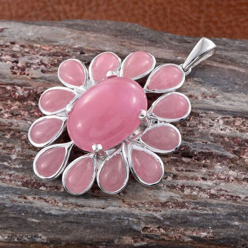 Pink Jade (Ovl) Pendant in Platinum Overlay Sterling Silver 28.750 Ct.