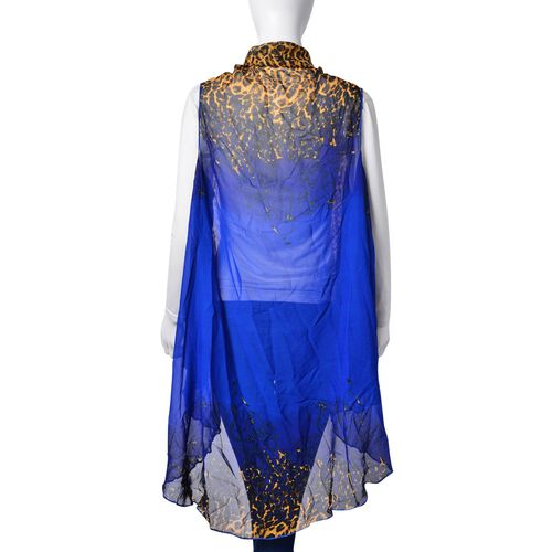 Summer Collection-Leopard Printed Blue Colour Poncho (Free Size)