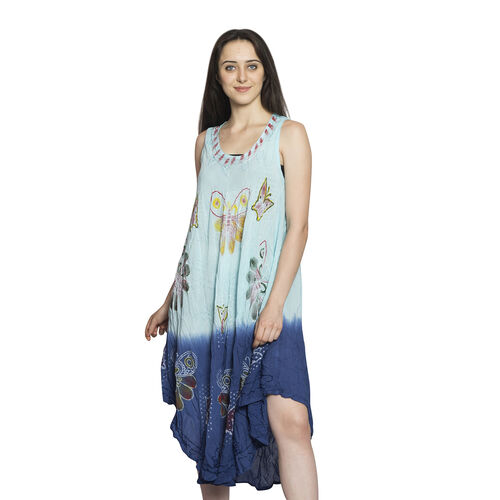 Summer Collection-Midi Length Butterfly Printed Ombre Border Dress in Light and Dark Blue Colour