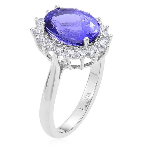 ILIANA 18K White Gold AAA Tanzanite (Ovl 3.75 Ct), Diamond (SI/G-H) Ring 4.250 Ct.