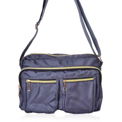 Dark Grey Colour Multi Pocket Waterproof Crossbody Bag with Adjustable Shoulder Strap (Size 27X18X9 Cm)