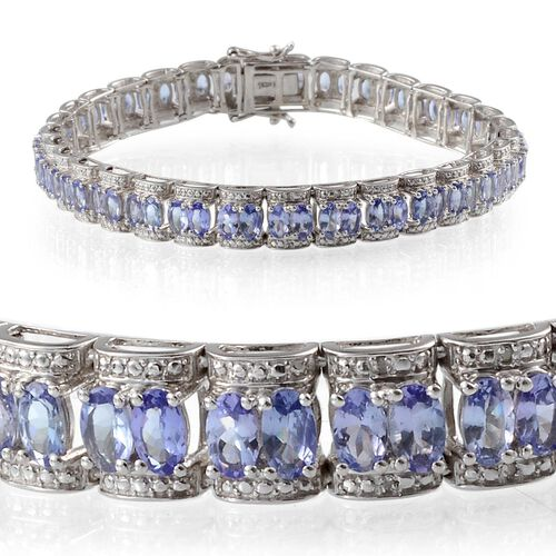 AA Tanzanite (Ovl), Diamond Bracelet in Platinum Overlay Sterling Silver (Size 8) 14.020 Ct.