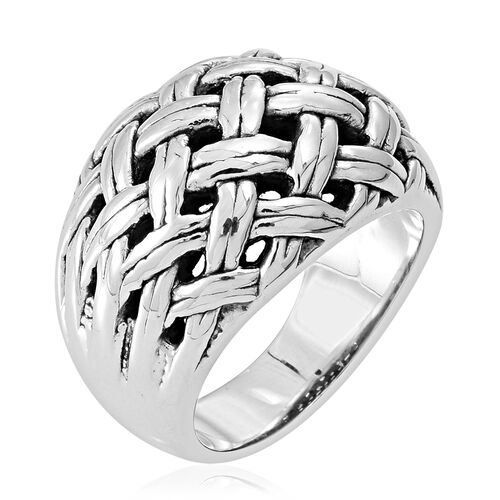 Statement Collection Sterling Silver Weave Ring, Silver wt 5.78 Gms.
