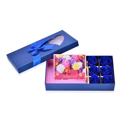 Set of 3 - 100% Silk Blue, White and Yellow Colour Scarf (Size 180x70) with 6 Pcs Floral Shape Soap in a Blue Colour Box