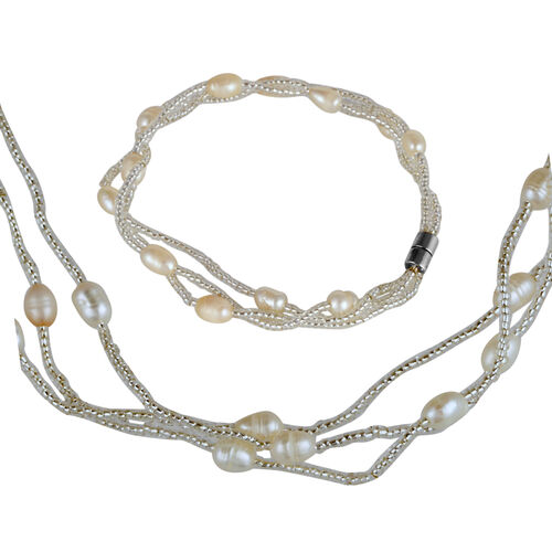Close Out Deal Fresh Water White Pearl Necklace (Size 18) and Bracelet (Size 7) in Silver Bond