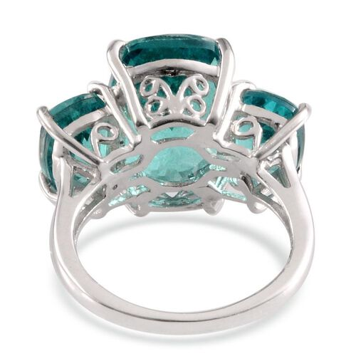 Paraiba Tourmaline Colour Quartz (Cush 6.75 Ct) 3 Stone Ring in Platinum Overlay Sterling Silver 10.000 Ct.