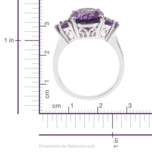 Amethyst (Ovl 4.25 Ct) Ring in Platinum Overlay Sterling Silver 4.750 Ct.