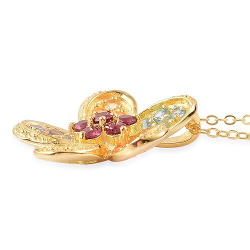 Rhodolite Garnet (Rnd), Swiss Blue Topaz, Tanzanite, Hebei Peridot, Citrine and Jalisco Fire Opal Flower Pendant with Chain in Yellow Gold Overlay Sterling Silver 1.500 Ct.