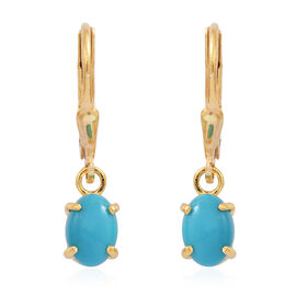 Arizona Sleeping Beauty Turquoise (Ovl) Lever Back Earrings in 14K Gold Overlay Sterling Silver 1.400 Ct.