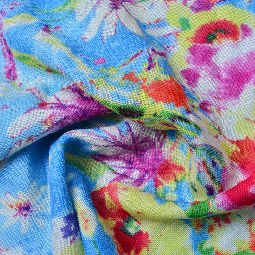 100% Wool Blue, Red and Multi Colour Floral Pattern Scarf with Tassels (Size 184X68 Cm)