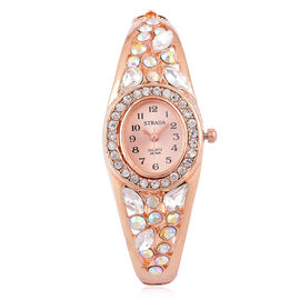 Designer Inspired - STRADA Japanese Movement Sunshine Dial Bangle Watch in Rose Gold Tone with White Austrian Crystal, Simulated AB and White Colour Diamond
