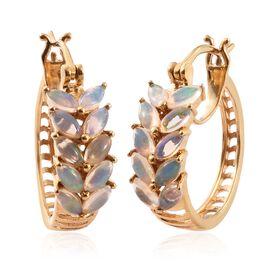 Ethiopian Welo Opal (Mrq) Hoop Earrings (with Clasp Lock) in 14K Gold Overlay Sterling Silver 1.500 Ct.