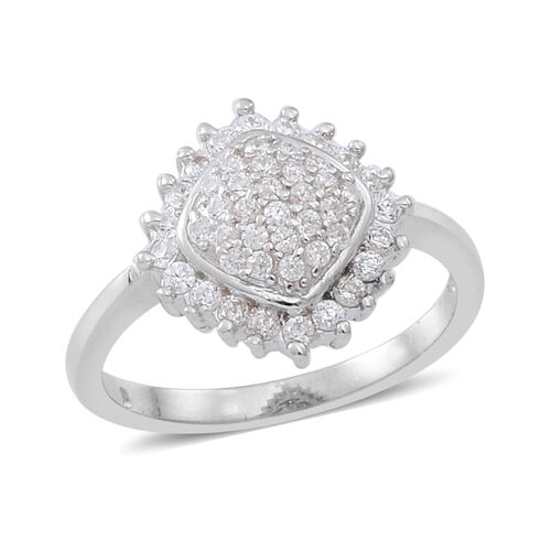 ELANZA AAA Simulated Diamond (Rnd) Ring in Rhodium Plated Sterling Silver