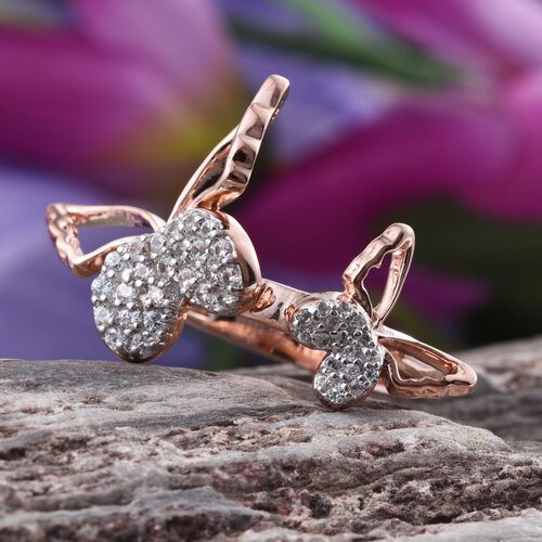 Kimberley Natural Cambodian Zircon (Rnd) Butterfly Ring in Rose Gold Overlay Sterling Silver 1.500 Ct.
