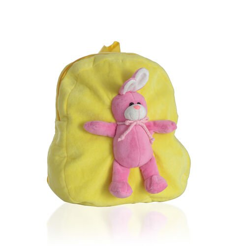 Yellow Colour School Bag With Pink Colour Rabbit Kids Backpack (Size 32x28 Cm)