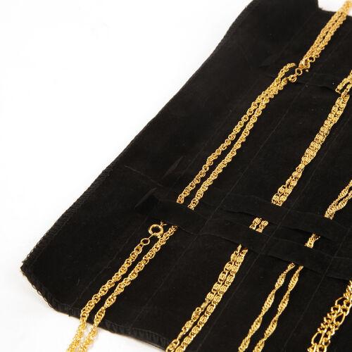 JCK Vegas Set of 14 Complete Wardrobe 18K Gold Plated Set of 7 Chain (Size 20) and Set of 7 Bracelet (Size 7.5) with Black Velvet Pouch