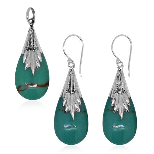 Royal Bali Collection Simulated Turquoise (Pear) Pendant and Hook Earrings in Sterling Silver
