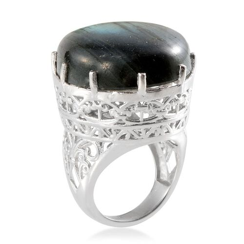 Labradorite (Ovl) Solitaire Ring in Platinum Overlay Sterling Silver 50.000 Ct.