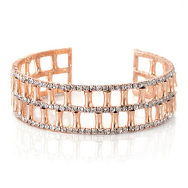 Designer Inspired-AAA Austrian Crystal Cuff Bangle (Size 7) in Rose Gold Bond