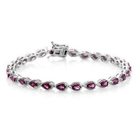 Rare Natural Purple Garnet (Pear) Bracelet (Size 7.5) in Platinum Overlay Sterling Silver 6.50 Ct.