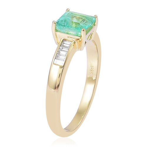 ILIANA 18K Yellow Gold AAA Boyaca Colombian Emerald (Oct 1.25 Ct), Diamond (SI/G-H) Ring 1.500 Ct