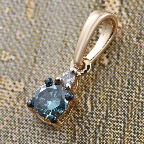 9K Yellow Gold 0.25 Ct Blue Diamond (I3), White Diamond Pendant