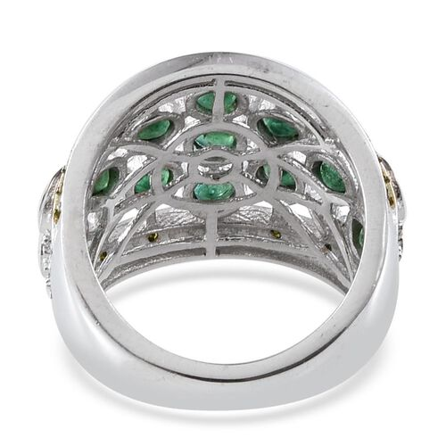 Kagem Zambian Emerald (Rnd), Green Diamond Ring in Platinum Overlay Sterling Silver 1.580 Ct.