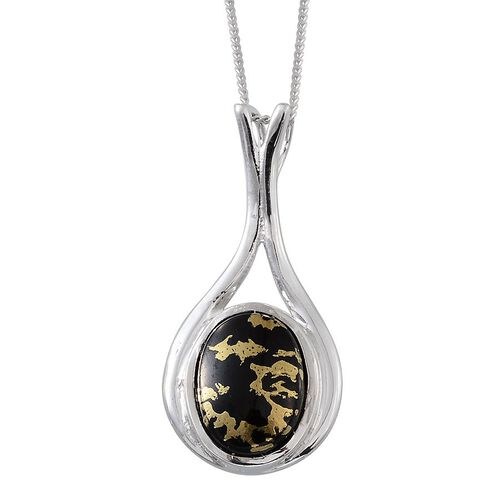 Goldenite (Ovl) Solitaire Pendant With Chain in Platinum Overlay Sterling Silver 3.250 Ct.