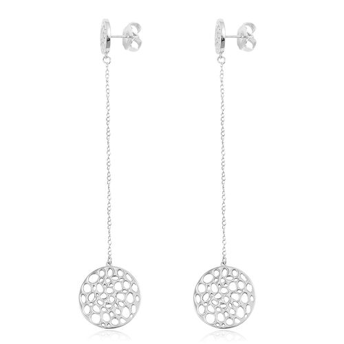RACHEL GALLEY Rhodium Plated Sterling Silver Lattice Circle Earrings (with Push Back), Silver wt. 12.43 Gms.