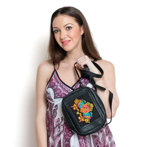 Limited Collection Melanney Genuine Leather Lotus Embroidered Black Colour Sling Bag with Shoulder Strap (Size 20.5 X 16 . 5 CM)