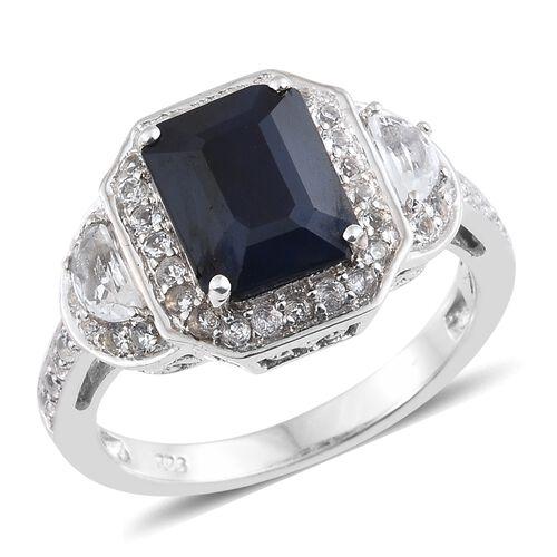Kanchanaburi Blue Sapphire (Oct 4.20 Ct), White Topaz Ring in Platinum Overlay Sterling Silver 5.500 Ct.